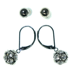 Black & Silver-Tone Colored Metal Multiple-Earrings With Crystal Accents #3585