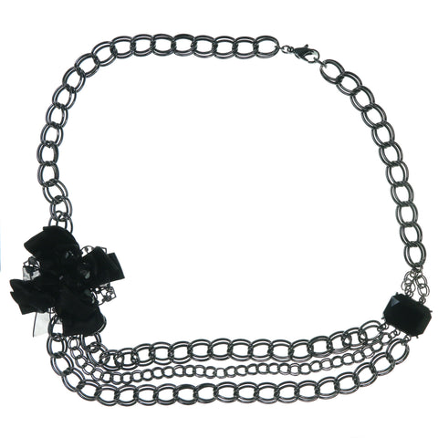 Flower Bow Necklace With Faceted Accents Dark Silver & Black Colored #3638