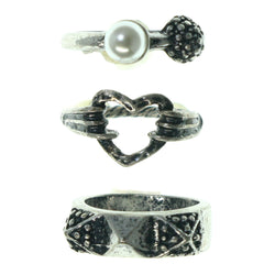Heart Spike Multiple-Rings With Bead Accents Silver-Tone & White Colored #3558