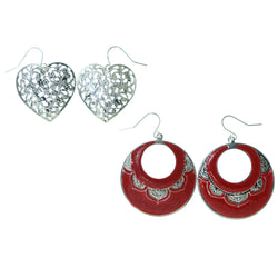 Heart Multiple-Earrings Silver-Tone & Pink Colored #3541
