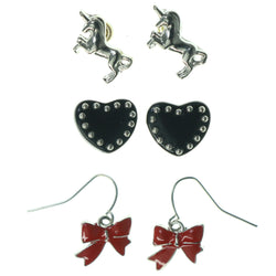Bow Heart Unicorn Multiple-Earrings Red & Black Colored #3546