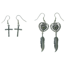 Heart Cross Feather Multiple-Earrings With Crystal Accents Silver-Tone & Green Colored #3531