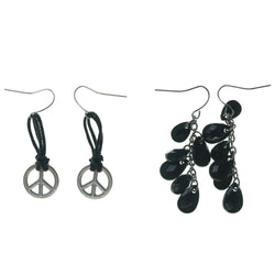 Peace Sign Multiple-Earrings With Bead Accents Black & Silver-Tone Colored #3539