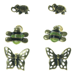 Butterfly Elephant Bumble Bee Multiple-Earrings Gold-Tone Color  #3545