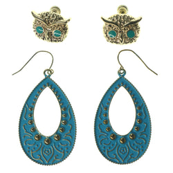 Owl Multiple-Earrings Gold-Tone & Blue Colored #3553