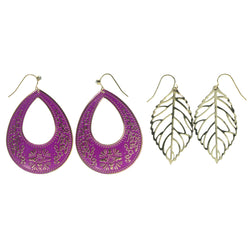Leaf Multiple-Earrings With Crystal Accents Gold-Tone & Pink Colored #3547