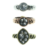Colorful & Silver-Tone Colored Metal Multiple-Rings With Crystal Accents #3528