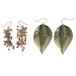Leaf Multiple-Earrings With Bead Accents Gold-Tone & Pink Colored #3556