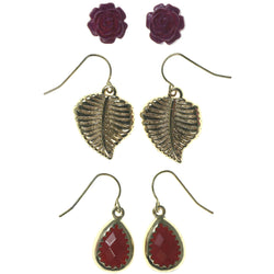 Leaf Rose Multiple-Earrings With Bead Accents Pink & Gold-Tone Colored #3560
