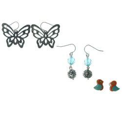 Birds Butterfly Multiple-Earrings With Bead Accents Silver-Tone & Blue Colored #3543