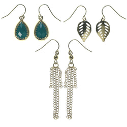 Leaf Multiple-Earrings With Bead Accents Gold-Tone & Blue Colored #3754