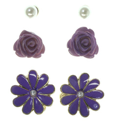 Daisy Rose Multiple-Earrings Purple & Gold-Tone Colored #3757