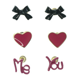 Bow Heart Me & You Multiple-Earrings Pink & Black Colored #3524