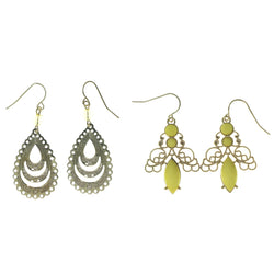 Gold-Tone & Yellow Colored Metal Multiple-Earrings With Bead Accents #3755