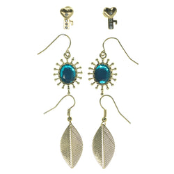 Key Leaf Multiple-Earrings With Crystal Accents Gold-Tone & Blue Colored #3760