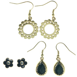Flowers Multiple-Earrings With Crystal Accents Gold-Tone & Black Colored #3751
