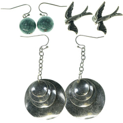 Swallows Multiple-Earrings With Bead Accents Silver-Tone & Blue Colored #3527