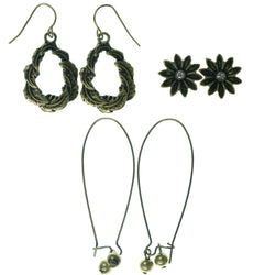 Flowers Leaf Multiple-Earrings  With Crystal Accents Gold-Tone Color #3521