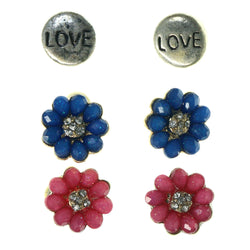 Flowers Multiple-Earrings With Crystal Accents Pink & Blue Colored #3756