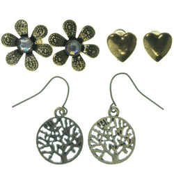Tree Flower Heart Multiple-Earrings With Crystal Accents Gold-Tone Color #3520