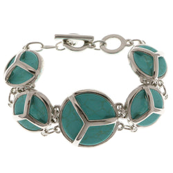 Adjustable Length Semi-Precious-Bracelet With Stone Accents Silver-Tone & Turquoise Colored #3517