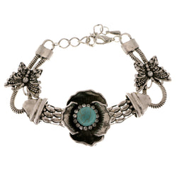 Flower Butterflies Adjustable Length Semi-Precious-Bracelet With Crystal Accents Silver-Tone & Gray Colored #3515