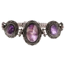 Silver-Tone & Purple Colored Metal Semi-Precious-Bracelet With Stone Accents #3512