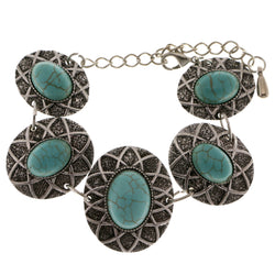 Adjustable Length Semi-Precious-Bracelet With Stone Accents Silver-Tone & Blue Colored #3505