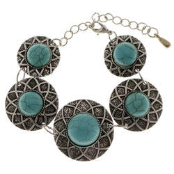 Adjustable Length Semi-Precious-Bracelet With Stone Accents Silver-Tone & Blue Colored #3503