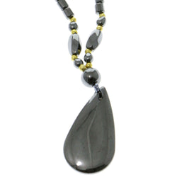 Angel Tear Hematite-Pendant-Necklace With Bead Accents Gray & Gold-Tone Colored #4154