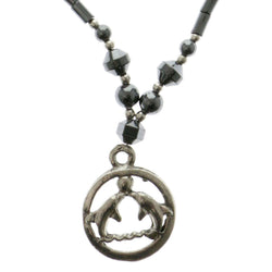 Dolphins Hematite-Pendant-Necklace With Bead Accents Silver-Tone & Gray Colored #4151