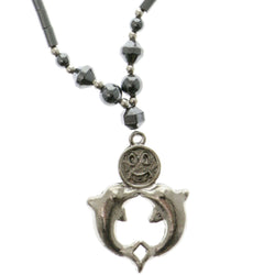 Dolphins Smiley Face Hematite-Pendant-Necklace With Bead Accents Silver-Tone & Gray Colored #4149