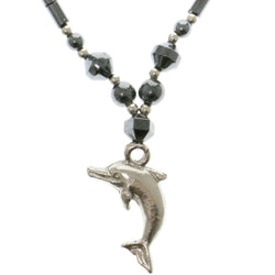 Dolphins Hematite-Pendant-Necklace With Bead Accents Gray & Silver-Tone Colored #4155