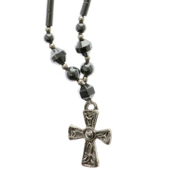 Cross Hematite-Pendant-Necklace With Bead Accents Silver-Tone & Gray Colored #4148