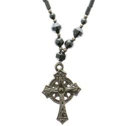 Cross Hematite-Pendant-Necklace With Bead Accents Silver-Tone & Gray Colored #4153