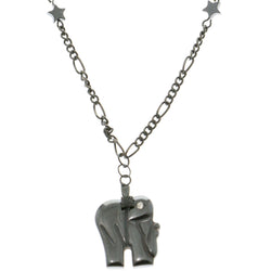 Elephants Stars Hematite-Pendant-Necklace  With Crystal Accents Gray Color #4146
