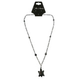 Turtle Hearts Hematite-Pendant-Necklace With Bead Accents Silver-Tone & Black Colored #4143