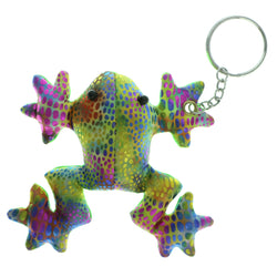 Frog Beanie Split-Ring-Keychain Green & Multi Colored #030