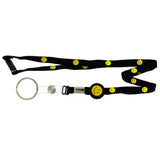 Smiley Face Lanyard-Keychain Black & Yellow Colored #32