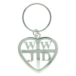 WWJD What Would Jesus Do Inspirational Split-Ring-Keychain Silver-Tone Color  #033