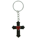Cross Heart Split-Ring-Keychain Black & Red Colored #036