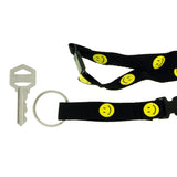 Smiley Face Lanyard-Keychain Black & Yellow Colored #41