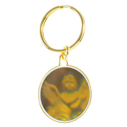 Holographic Angel Split-Ring-Keychain Gold-Tone & Multi Colored #050