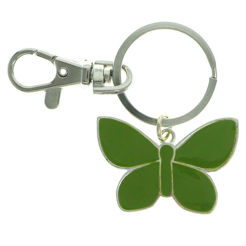 Butterfly Split-Ring-Keychain Silver-Tone & Green Colored #051