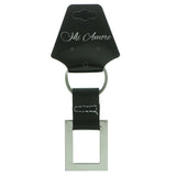 Silver-Tone & Black Colored Metal Split-Ring-Keychain #056
