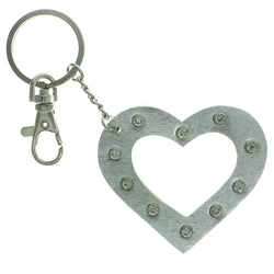 Heart Split-Ring-Keychain With Crystal Accents  Silver-Tone Color #070