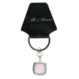 Silver-Tone & Pink Colored Metal Split-Ring-Keychain With Faceted Accents #078