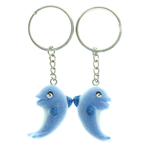 Fuzzy Dolphins Matchin Set Split-Ring-Keychain Blue & White Colored #085