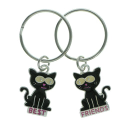 Best Friends Cats Set Of Two Split-Ring-Keychain Silver-Tone & Black Colored #086