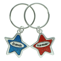 Friends Forever Stars Set Of Two Split-Ring-Keychain Silver-Tone & Multi Colored #087